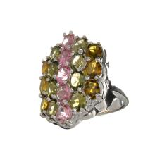 APP: 2.7k 6.36CT Oval Cut Multi-Colored Multi Precious Gemstones And Platinum Over Sterling Silver Ring