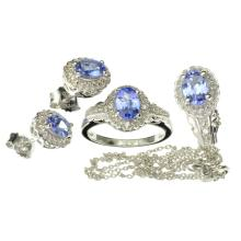 APP: 2k Fine Jewelry 2.50CT Tanzanite Zoisite And Colorless Topaz Platinum Over Sterling Silver, 3 Piece Set