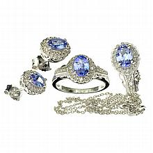 APP: 2.2k 2.65CT Tanzanite Zoisite And Colorless Topaz Platinum Over Sterling Silver 3 Piece Set