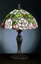 Rose Tiffany Style Lamp With Metal Base