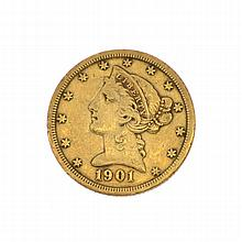 *1901-S $5 U.S. Liberty Head Gold Coin