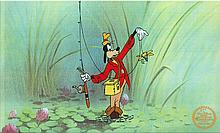 Walt Disney (After) Serigraph, Cell , Goofy How To Fish at Swamp W/ Certificate Of Authenticity