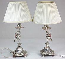 Dos lamparitas de plata con angelitos 40 cm 300 - 400 €