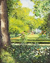 "Mercedes Ródenas (Madrid ? - 2000) ""Jardín"" óleo sobre lienzo"