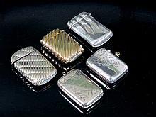 Lote de cinco cerilleros de plata 142,6 g 6,5 x 4 cm 100 - 1
