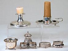Lote de piezas de plata y metal plateado que contiene: una plamatoria de al