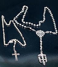 Dos rosarios con cuentas de plata 50 - 90 €
