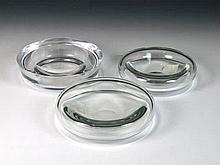 Lote de tres ceniceros de vidrio soplado 5 x 18 cm, el mayor 100