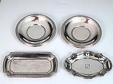 Lote de dos platillos y dos bandejitas de plata 144,6 g 7 x 14 cm