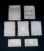 Lote de siete tarjeteros de plata uno con placas de nácar. Faltas 321,