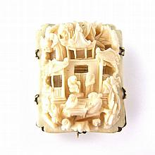 Yellow metal Chinese ivory panel brooch, Cantonese