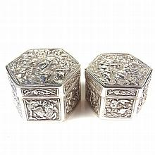 Two Chinese or Southeast Asian silver boxes, late 19th/early 20th century.