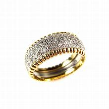18 ct yellow gold half eternity band diamond cluster ring. Set with single