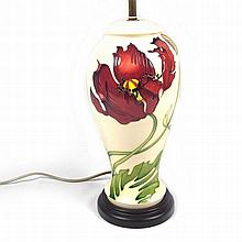 A large Moorcroft Dancing Flame pattern table lamp base designed by Philip