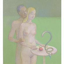 Tindle, David b1932 British AR, Adam and Eve. 11.5 x 10.25 ins., (29 x 26 c