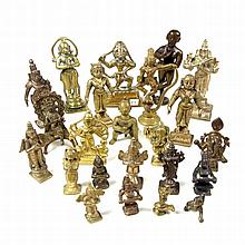 A collection of Indian bronze and brass Hindu deity figures. Comprising twe