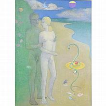 Tindle, David b1932 British AR, Curiosity and the Golden Platter. 15.75 x 9