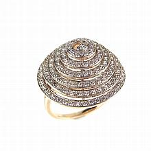 9 ct yellow gold diamond spiral cluster ring. Designed as a round brilliant