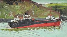 Yates, Fred 1922-2008 British AR, Boat on the River. 12 x 20.5 ins., (30 x