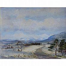 Egginton, Robert b.1943 Irish/British, Road through Snowy Hills. 17 x 20 in