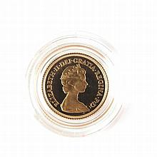 1980 proof gold half sovereign. Complete with red presentation case and boo