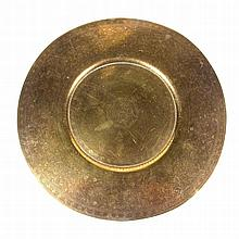 A finely engraved and enameled Indian brass tray. Finely engraved and ename