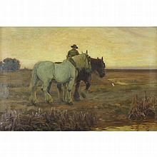Hall, Frederick 1860-1948 British AR, Returning Home. 20 x 30 ins., (51 x 7