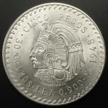 1948 Mexico 5 Pesos  90% Silver, Brilliant Uncirculated