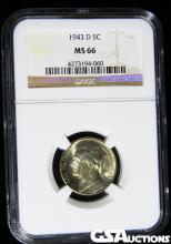 1943-D Jefferson Silver Nickel NGC MS 66 ERROR Defective Die Variety