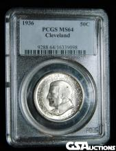 Rare 1936 Cleveland Centennial / Great Lakes Exposition Silver Half Dollar PCGS MS64 Only 50,030 Minted