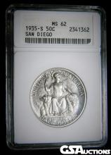 Rare 1935-S San Diego Silver Half Dollar ANACS MS 62 Only 70,132 Minted