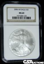 2006 W American UNC Silver Eagle NGC MS 69