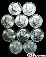 (10) Different Date Brilliant Uncirculated  Kennedy Half Dollars