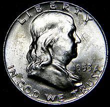 1953 D Ben Franklin Silver Half Dollar Uncirculated