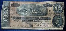 1864 Seventh Issue Civil War Confederate States of America $10 Notes