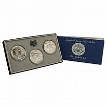 1983 PDS Olympic  3 Piece Uncirculated Silver Dollar Set Containing 3 90% Silver Dollars