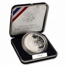 1991 S Proof USO Commemorative 90 % Silver Dollar