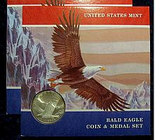 2008 P American Bald Eagle Silver Dollar & Medal Set