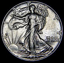 1945 Walking Liberty Half Dollar Extra Fine Details