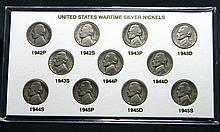 1942-45 11 coin silver wartime nickel set
