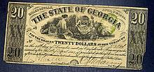 1864 Georgia $20 Twenty Dollar Civil War Confederate Note GA-27