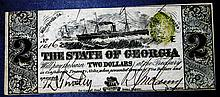 1863 State of Georgia $2 Dollar Civil War Crisp Note GA-22