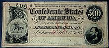 Rare 1864 T-64 Confederate States of America $500 Civil War Crisp Unc.