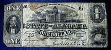 1863 Alabama $1 One Dollar Civil War Confedrate Note AL-5