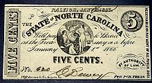1863 North Carolina Civil War .05  Five Cent Note Crisp NC-25