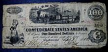 1862 4th Issue Sept 1862 $100 Civil War Confederated States Note