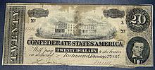 1864 T-67 Confederate States of America $20 Twenty Dollar Civil War Note High Grade