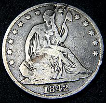 Rare 1842 O Medium Date Seated Liberty Half Dollar New Orleans Mint