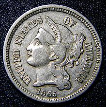 1865 Nickel Three-Cent Piece Civil War Very Fine Details