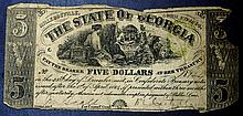 1864 Georgia $5 Five Dollar Civil War Confederate Note GA-25